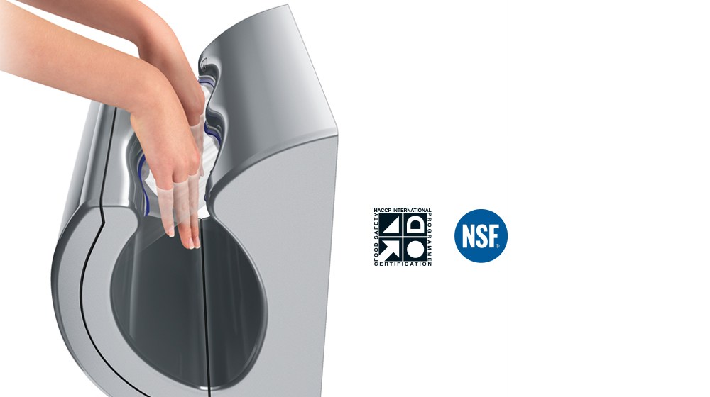 10 second dry time of the Dyson Airblade dB hand dryer